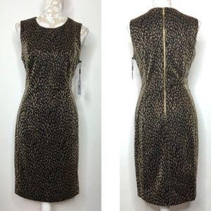 NWT Calvin Klein black gold metallic sheath dress